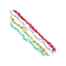 Бусы декоративные с лентой 2м, пластик 4цветов