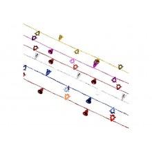 Бусы декоративные Колокольчики и елочки 2м, пластик 6цветов