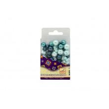 Бусины ЖЕМЧУГ-3 перламутр. пластик 30г (розовый, голубой, бел) FANCY CREATIVE
