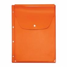 Файл-вкладыш расширяющ. цветн. с кнопкой 4 отв. оранжев. ДПС