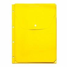 Файл-вкладыш расширяющ. цветн. с кнопкой 4 отв. желтый ДПС