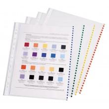 Файлы А4 цветной бок. полосой (100шт) Semi-Clear