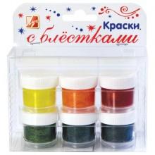 Краски 6цв.  с блестками  15мл Луч