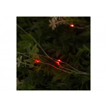 """Гирлянда """"Нить""""10м роса,серебряная нить LED-100-220V свечение красное"""