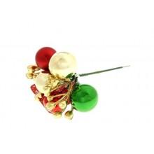 Декоративная палочка новогодняя 20см бусины