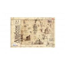 Альбом д/черчения 20л А3ф Римский коллаж на спирали. перфорация Hatber