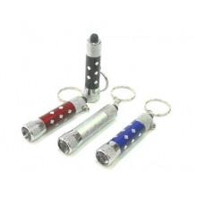 Брелок-фонарик 3 светодиода, металл, 4 цвета