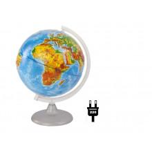 """Глобус 25см физический рельефный """"Глобусный мир"""" с подсветкой"""