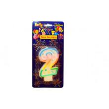 """Свеча праздничная цифра """"2"""" 7см, д/торта, разноцветная"""