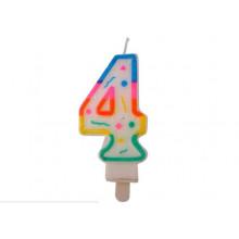 """Свеча праздничная цифра """"4"""" 7см, д/торта, разноцветная"""