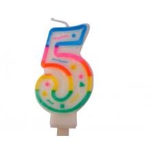 """Свеча праздничная цифра """"5"""" 7см, д/торта, разноцветная"""