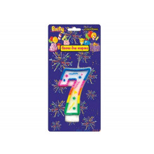 """Свеча праздничная цифра """"7"""" 7см, д/торта, разноцветная"""