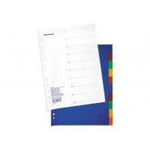 Разделитель А4 10цв. Divider colored пластиковый, с оглавлением