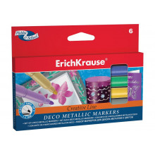 Фломастеры 6цв Erich Krause metallic Easy (для декора)