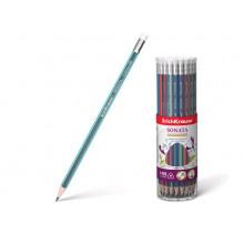 Карандаш графитный SONATA трехгранный с ластиком НВ ErichKrause