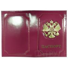 Обложка д/паспорта  , металл. герб, глянцевая кожа