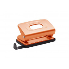 Дырокол 10л Mettallic с линейкой оранжевый