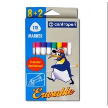Фломастеры 8цв+2поглотителя 2569 ERASABLE TRIO  Centropen
