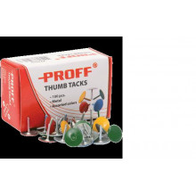 """Кнопки канц. """"Proff"""" цв. (100шт) в карт. упаковке"""