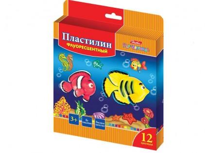 """Пластилин 12цв воск.фл.""""Морская семейка""""180гр.,стек"""