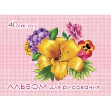 Альбом 40л А5 МНОГОЦВЕТНЫЙ БУКЕТ скрепка, обл- целлюл. картон