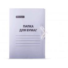 Папка для бумаг (на завязках) 300г/м2, картон немелов. белый (158535)OfficeSpace