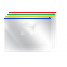 Папка на молнии гибкой А4  прозрачная OfficeSpace 120мкн