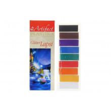 Полимерная глина запекаемая набор Artifact LAPSI Gliter 9 цв.*20 гр с блестками (180гр)