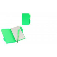 Блокнот А7 30л обл.пластик с ручкой, зеленый