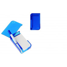 Блокнот А7 30л обл.пластик с ручкой, закладки липкие,лупа,синий