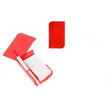 Блокнот А7 30л обл.пластик с ручкой, закладки липкие,лупа,красный