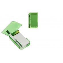 Блокнот А7 30л обл.пластик с ручкой, закладки липкие,лупа,зеленый
