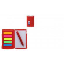 Блокнот А7 30л обл.пластик с ручкой, закладки липкие 5 цв. красный