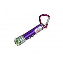 Брелок-фонарик МИКС 7*1,4см  карабин, лазер 2режима