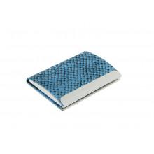 Визитница металл гориз синяя CALLIGRATA