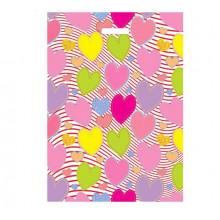 """Пакет п/э """"Красочные сердечки"""" с вырубной ручкой 40*50см 45мкм"""
