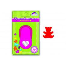 Дырокол фигурный МЕДВЕЖЕНОК  64*39*50мм розовый цвет Феникс