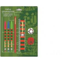 Набор канцелярский (3ручки, ластик 35мм, точилка, линейка 15см, черногр.карандаш НВ)