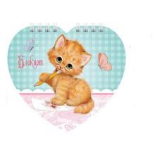 Блокнот А6 60л Милый котик, на гребне, фигурный