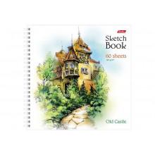 """Скетчбук 60л, 205*210 мм,   """"SketchBook"""" Старинный замок тв.облож. на гребне  Hatber"""