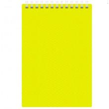 Блокнот А6 80л DIAMOND NEON Желтый, пластик. обл., на гребне Hatber