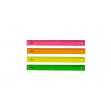 Линейка 30см пластик Hatber цветная флуор HATBER