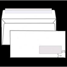 Конверт Е65 бел. 110*220мм STRIP отрывная полоса.правое окно (1000шт)**
