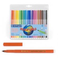Фломастеры 18цв. 7550/18  смываемые Colour World  Centropen в блист.