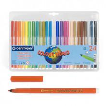 Фломастеры 24цв. 7550/24  смываемые Colour World  Centropen в блист.